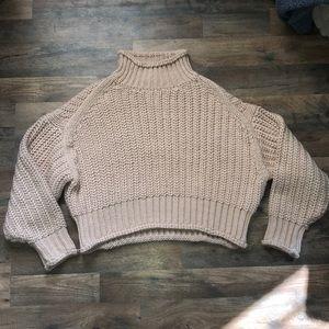 Baby pink boxy turtleneck sweater